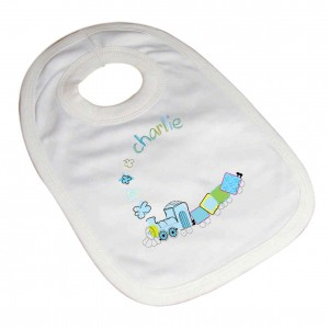 Patchwork Train Baby Bib