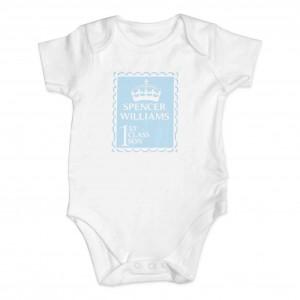Blue 1st Class 0-3 Months Baby Vest