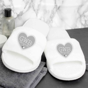 Grey Heart Initials Velour Slippers