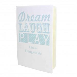 Dream Laugh Play Blue Hardback A5 Notebook