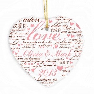 I Love You Ceramic Heart Decoration