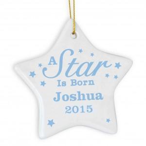 Blue 'A star Is Born' Ceramic Star Decoration