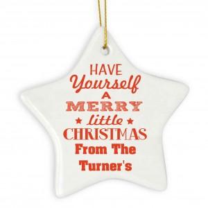 Merry Little Christmas Ceramic Star Decoration