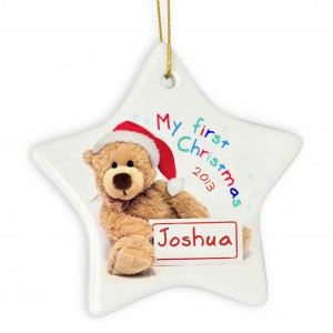 My First Christmas Teddy Ceramic Star Decoration