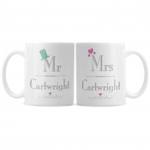 Decorative Wedding Mr & Mrs Mug Set