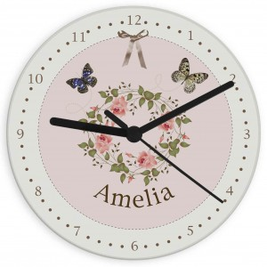 Delicate Butterfly Glass Clock