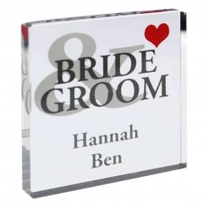 Bride & Groom Small Crystal Token