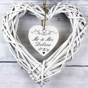 Ornate Swirl Wicker Heart Decoration