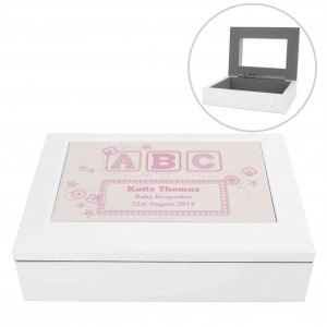 Pink ABC White Wooden Keepsake Box