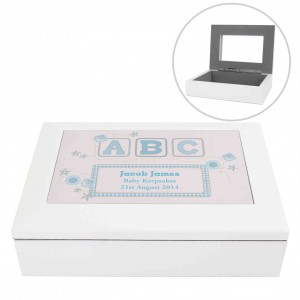 Blue ABC White Wooden Keepsake Box