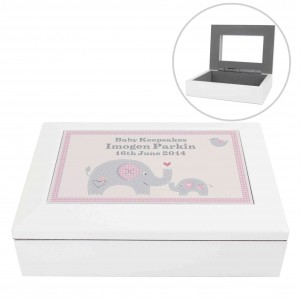 Pink Baby Elephant White Wooden Keepsake Box