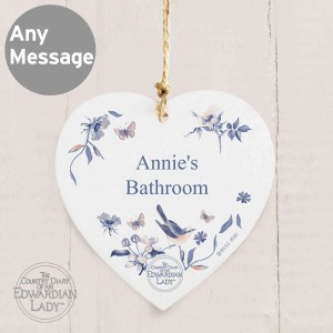 Country Diary Blue Blossom Wooden Heart Decoration