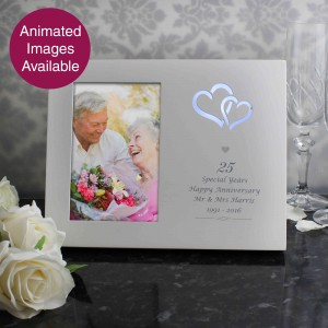 Silver Hearts 6x4 Light Up Frame