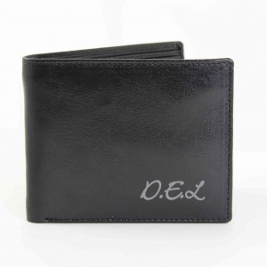 Leather Wallet with Script Font