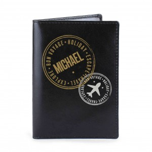 Stamped Black Passport Holder