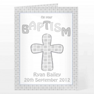 Baptism Card Grey