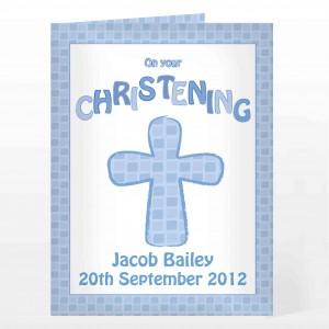 Christening Cross Card-Blue
