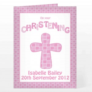 Christening Cross Card-Pink