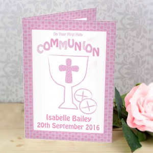 First Holy Communion Card Pink