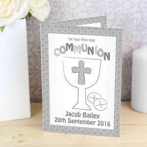 First Holy Communion Card Grey