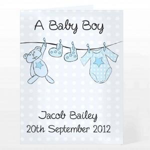 Baby Boy Washing Line Card