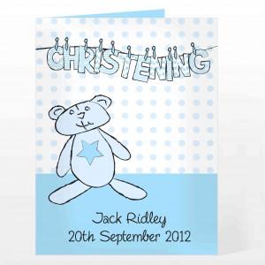 Boy Christening Wash Line Card