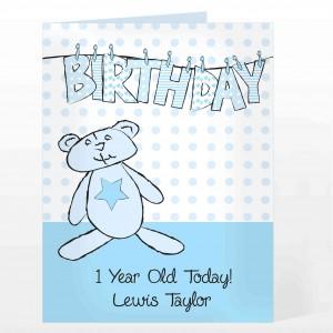 Blue Birthday Wash Line Card