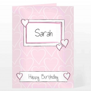 Pink Heart Label Card
