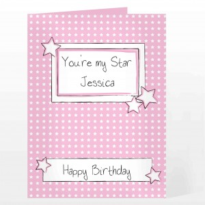 Pink Star Label Card