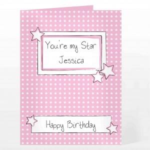 Pink Star Label Card
