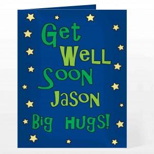 Get Well Blue Stars Card