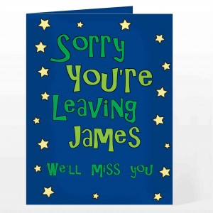 Sorry You're Leaving Card - Blue Stars