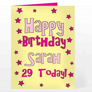 Happy Birthday Pink Star Card