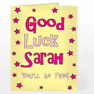Good Luck Pink Stars Card