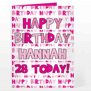 Happy Birthday Pink Text Card