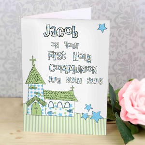 Whimsical Church Blue 1st Holy Communion Card