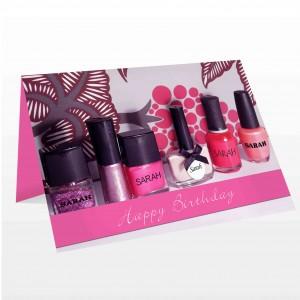 Row of Pink Nail Polish Card