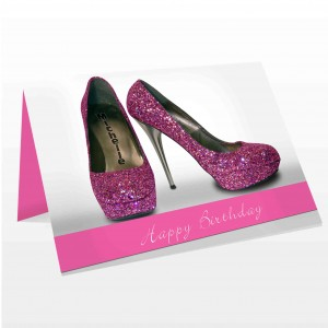 Sparkly Pink Shoes Card