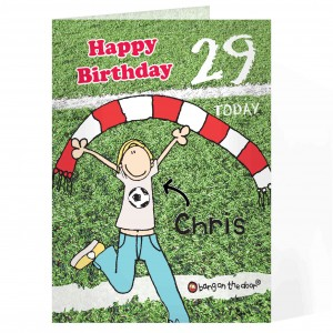 Bang On The Door Football Birthday card