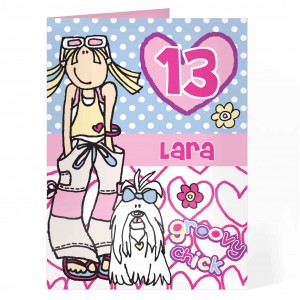 Bang On The Door Groovy Indie Chick Age Card