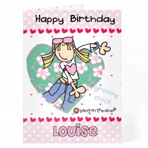 Bang On The Door Groovy Chick Heart Card