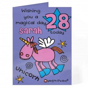 Bang On The Door Unicorn Age Card