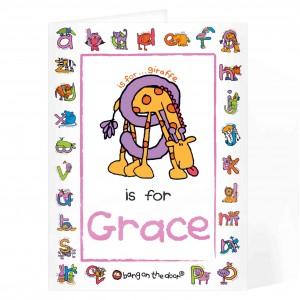 Bang On The Door Animal Alphabet Girls Card