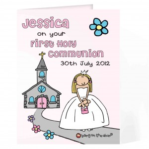 Bang On The Door First Holy Communion Girls Card