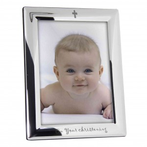 Silver Plated 5x7 On Your Christening Photo Frame