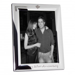 Silver Plated 5x7 Happy Silver Anniversary Photo Frame
