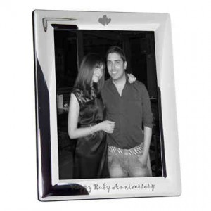 Silver Plated 5x7 Happy Ruby Anniversary Photo Frame