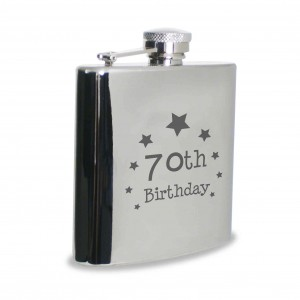 70th Birthday Hip Flask
