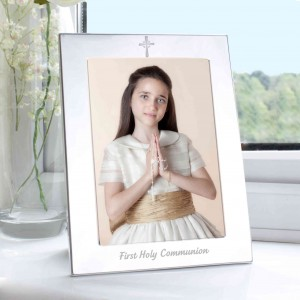 Silver 5x7 Holy Communion  Photo Frame