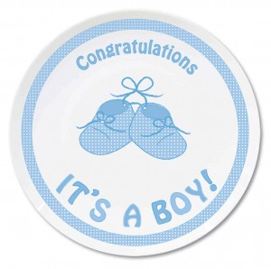 "Bootee 8"""" Plate Its a Boy"